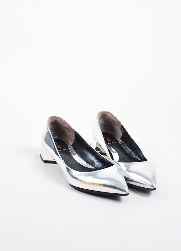 Silver Fendi Metallic Pointed Toe Block Heel Flats Front