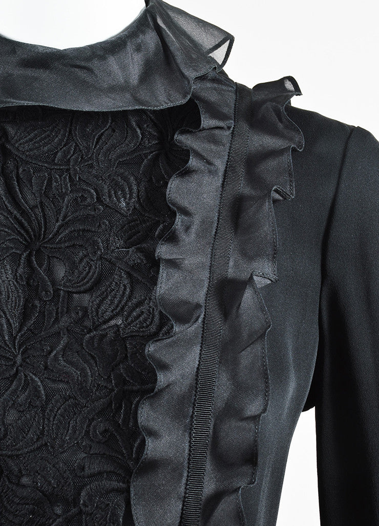 Black Giambattista Valli Silk Embroidered Mesh Ruffle Trim Top Detail