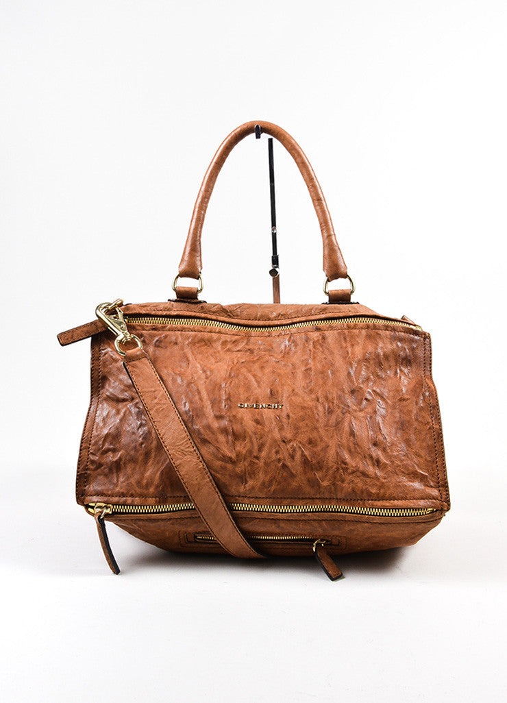 "Tan Givenchy Distressed Leather Crossbody ""Pepe Pandora Messenger"" Bag Frontview"