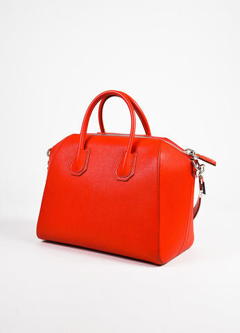 "Givenchy Red and Silver Toned Goat Leather Top Handle Medium ""Antigona"" Bag Sideview"
