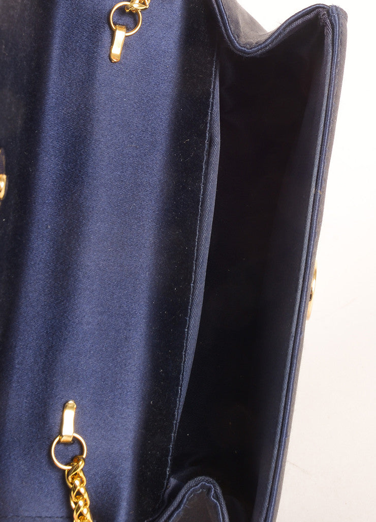 Gucci Navy and Gold Toned Satin Bamboo Handle Chain Strap Evening Bag Interior