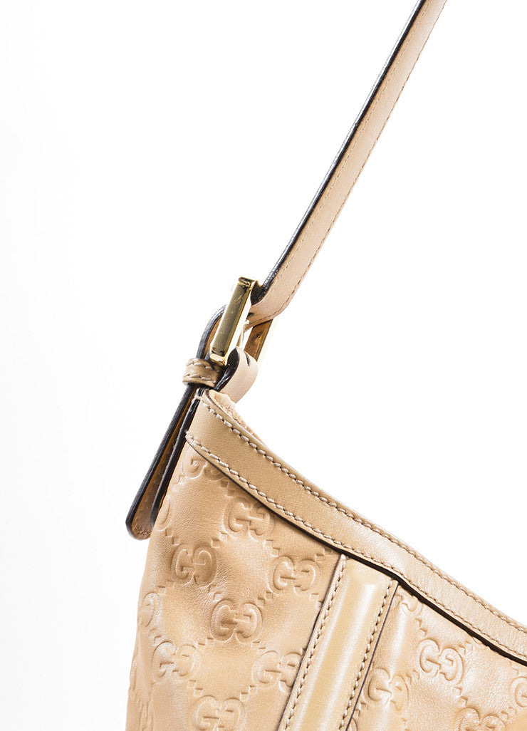 Gucci Tan Leather Embossed 'GG' Logo Hobo Bag Detail 2