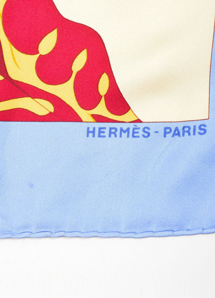 Hermes Blue, Yellow and Red Silk Printed Scarf Brand