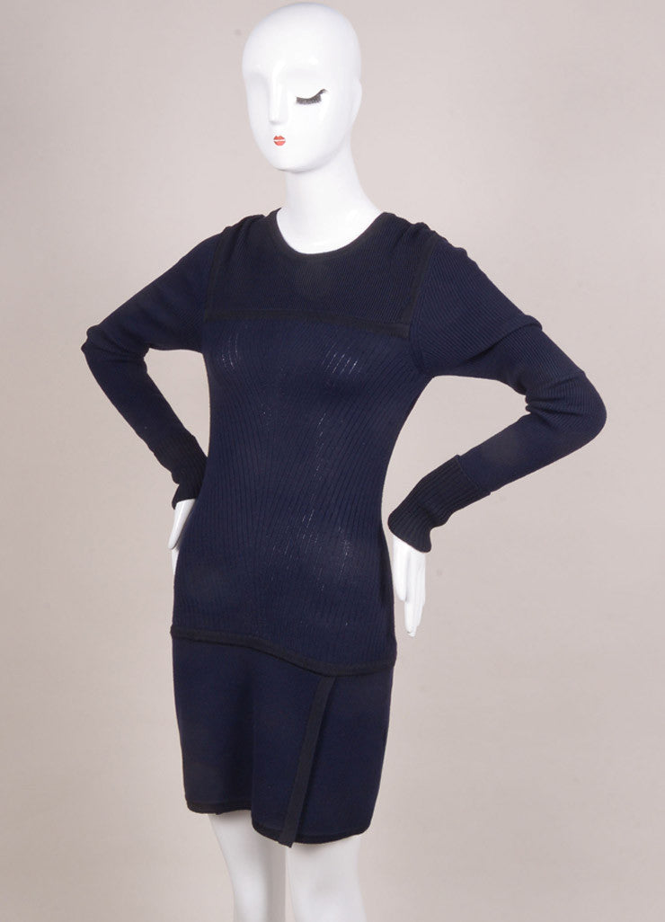 "Isabel Marant New With Tags Navy and Black Wool Knit ""Bingham"" Dress Sideview"