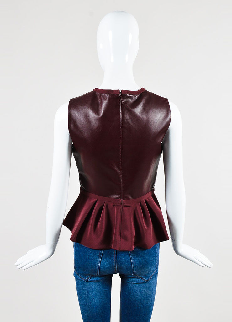 J. Mendel Burgundy Leather Pleated Detail Sleeveless Peplum Top Backview