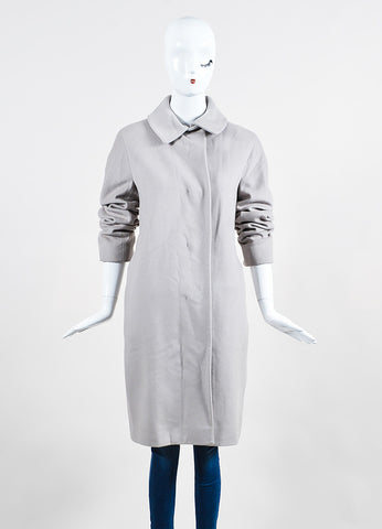 Jil Sander Light Grey Wool and Cashmere Button Up Long Sleeve Coat Frontview 2