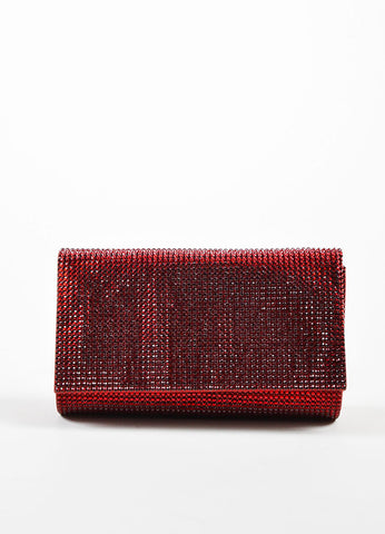 Wine Red Judith Leiber Satin Jewel Encrusted Crossbody Chain Flap Clutch Bag Frontview