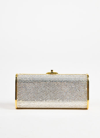 Judith Leiber Silver and Gold Toned Crystal Encrusted Chain Minaudiere Clutch Bag  Frontview
