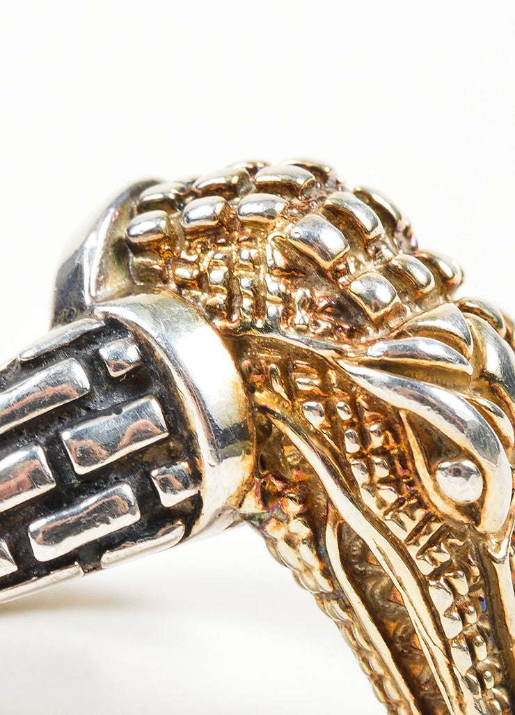 Barry Kieselstein-Cord 14K Yellow Gold and Sterling Silver Alligator Head Ring Detail