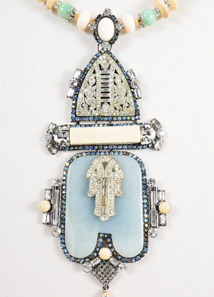 Lawrence VRBA Cream and Green Hamsa Deco Neckace Detail