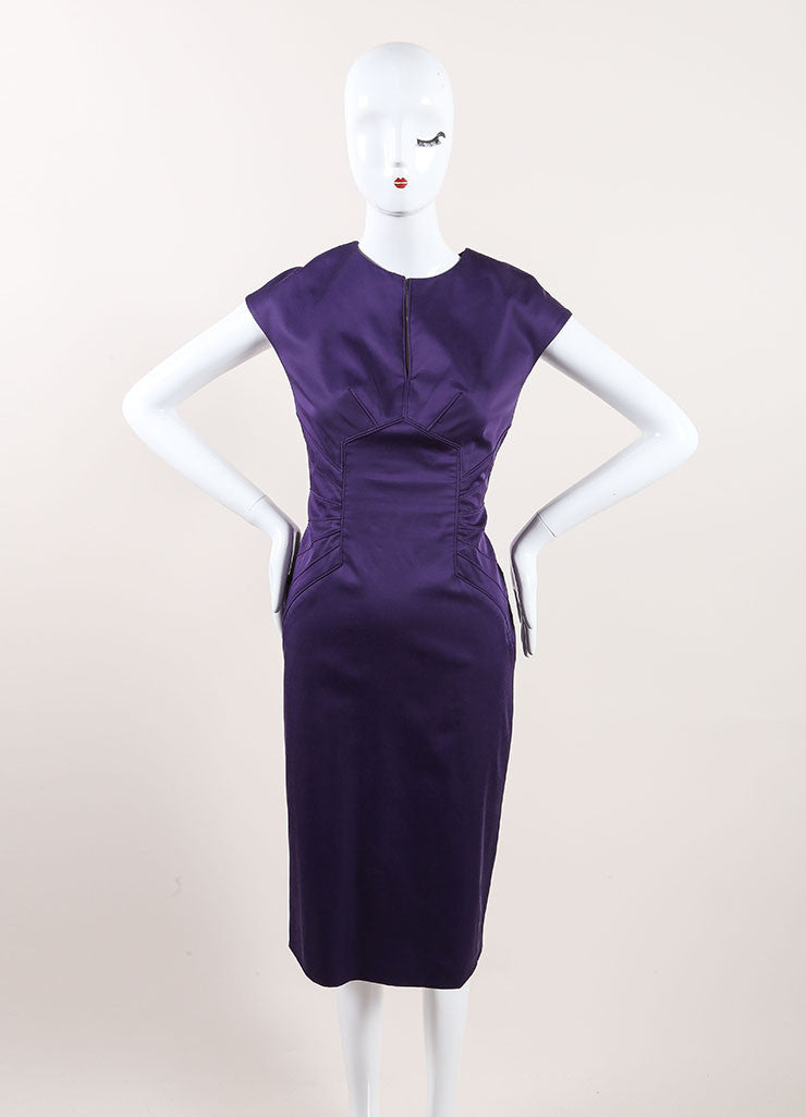 Lela Rose New With Tags Dark Purple Paneled Split Neck Sleeveless Sheath Dress Frontview