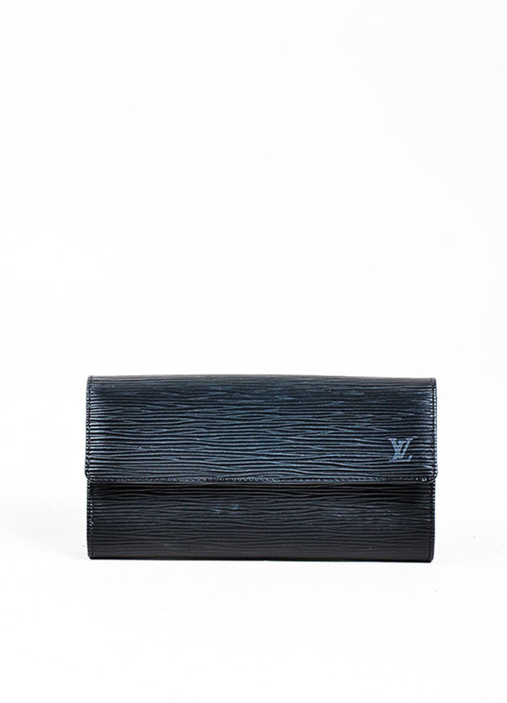"Black ¥éËLouis Vuitton Textured Leather ""Epi"" Long Snap Wallet Frontview"