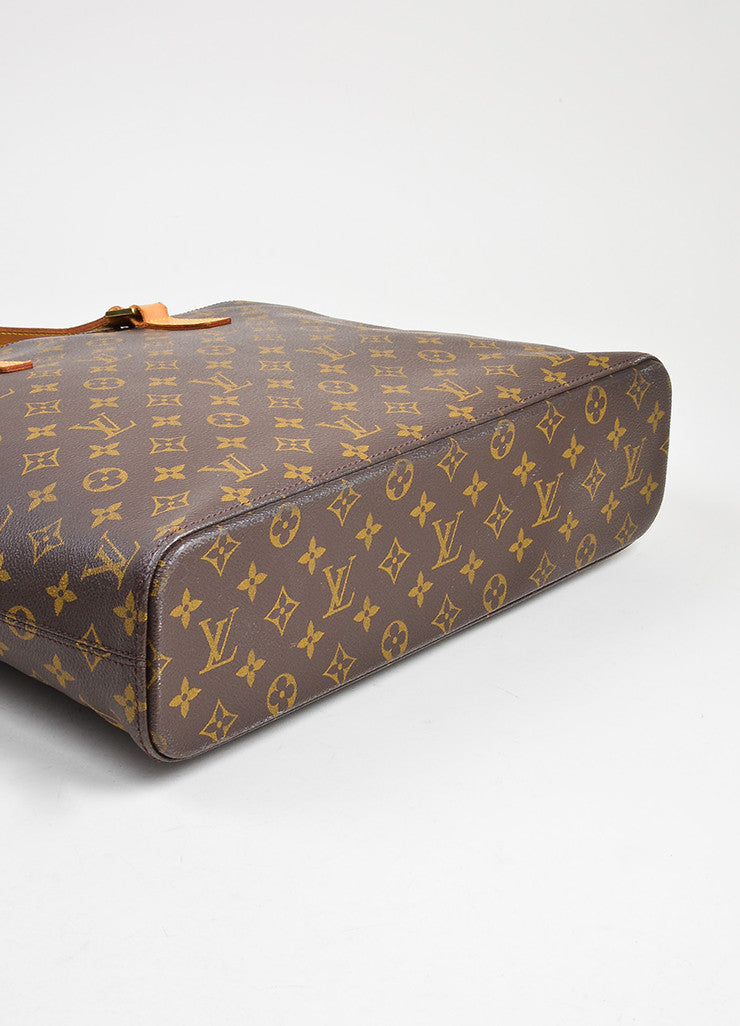 "Brown and Tan Louis Vuitton Coated Canvas Monogram Logo ""Luco"" Tote Bag Bottom View"