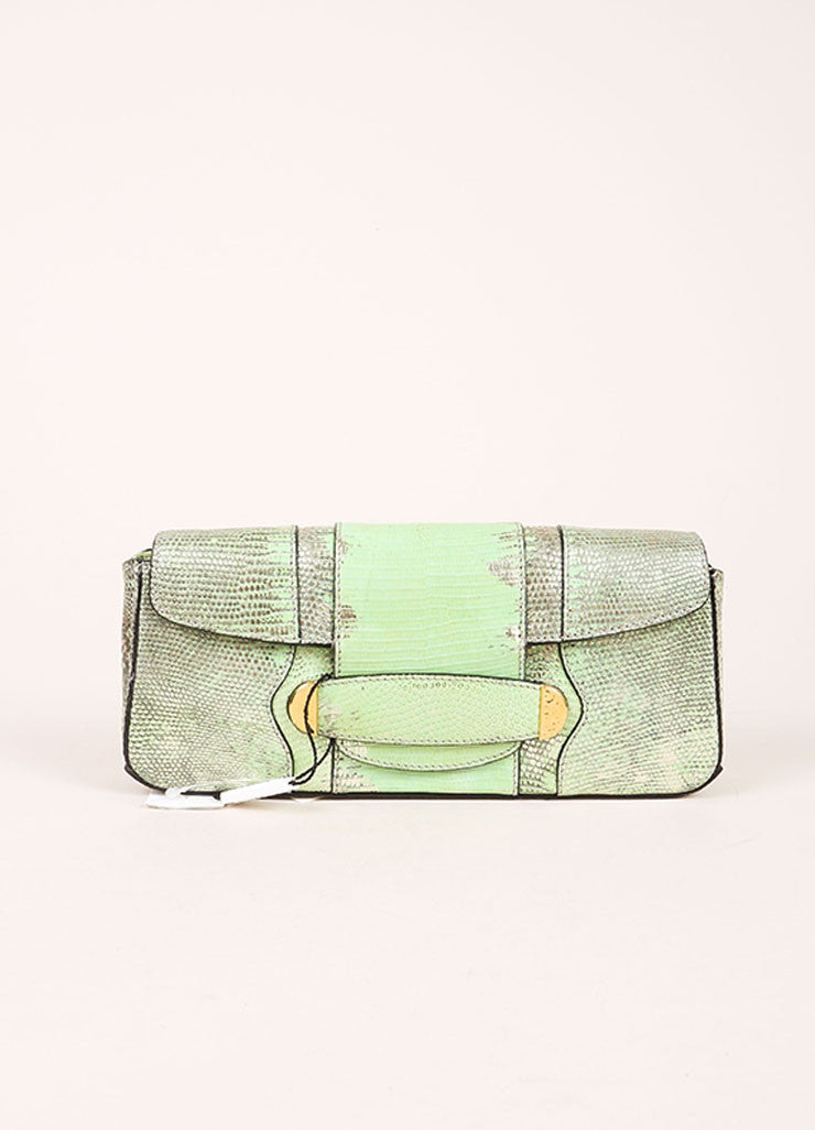 "Marc Jacobs New With Tags Green and Silver Reptile Leather Metallic ""Ruby"" Clutch Bag Frontview"