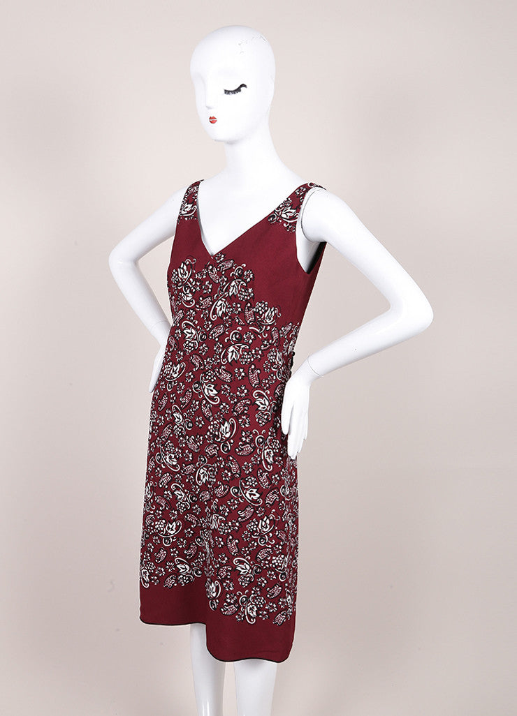Marc Jacobs New With Tags Maroon, Black, and White Crepe Paisley Print Sheath Dress Sideview