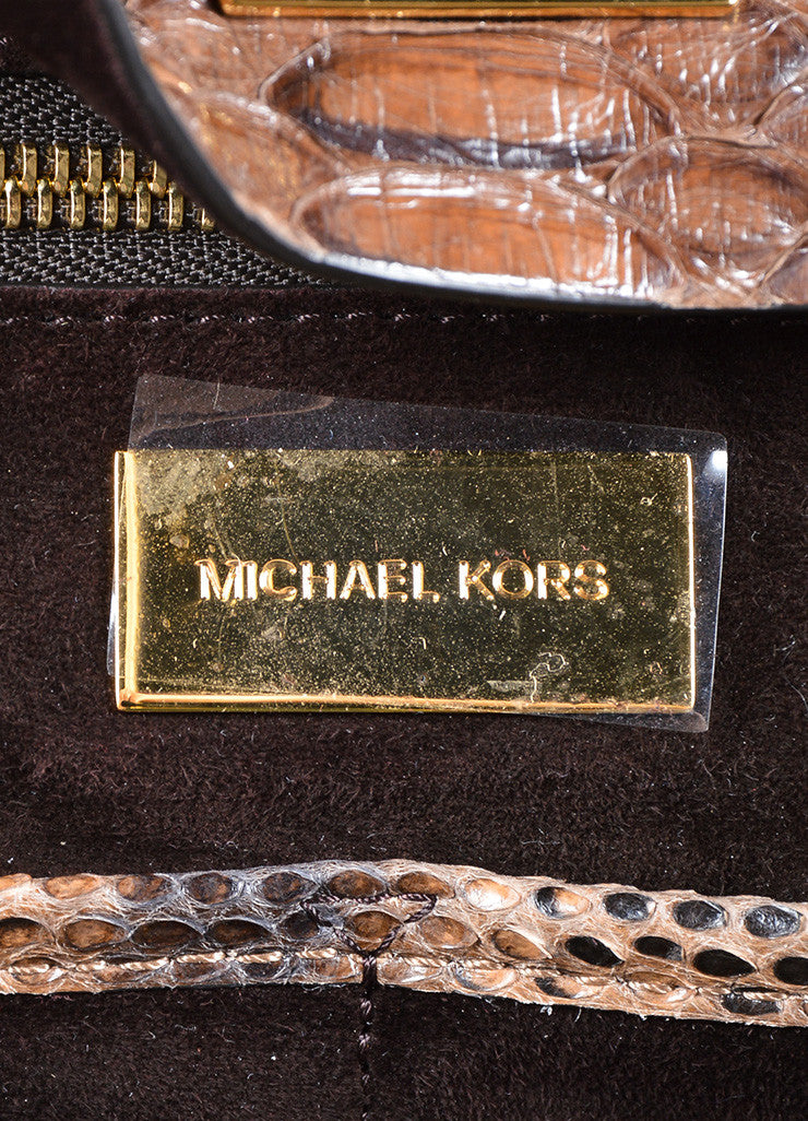 "Michael Kors Brown Python Leather ""Miranda"" Tote Bag Brand"