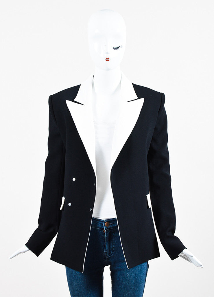 Mugler Black and White Crepe Contrast Blazer Jacket Frontview