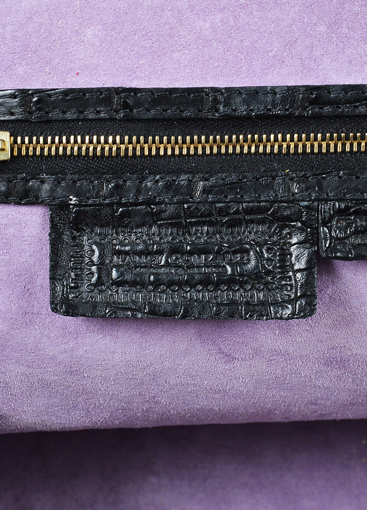 Black Nancy Gonzalez Crocodile Medium Bowler Satchel Bag Brand