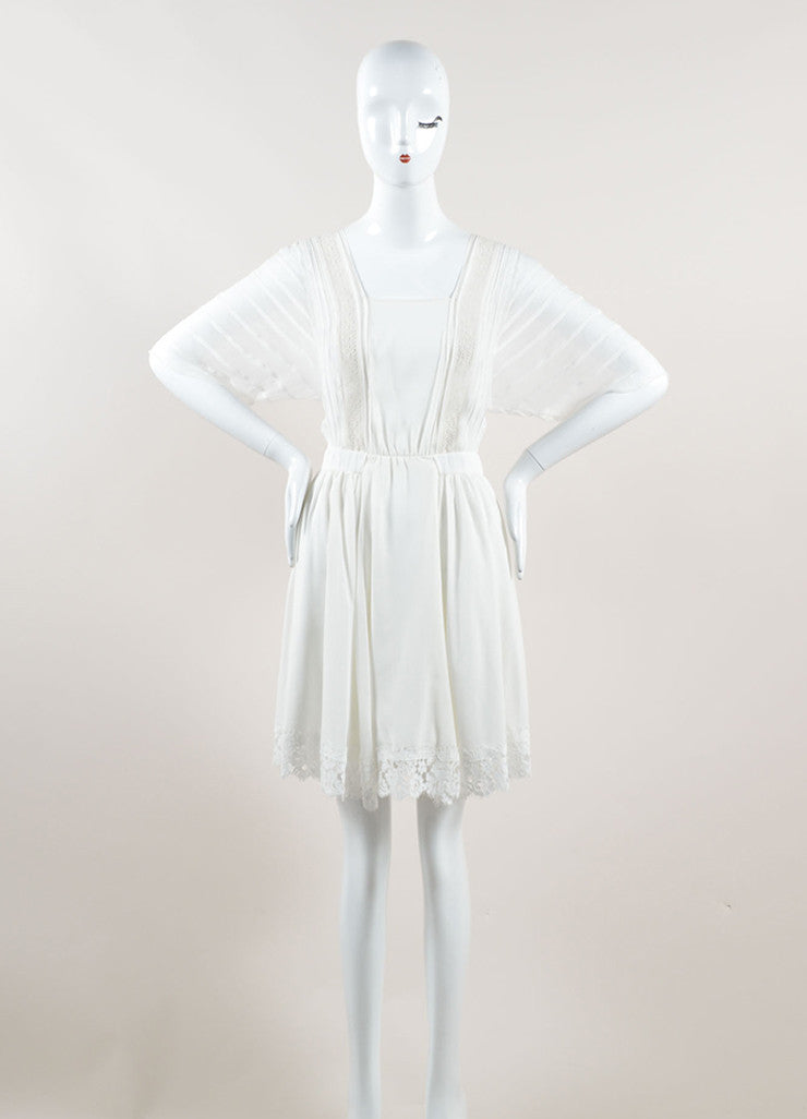 Nina Ricci White Silk Embroidered Lace Pleated Short Sleeve Dress Frontview