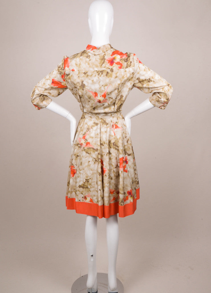 Oscar de la Renta Green and Coral Silk Floral Print Button Down Dress Backview