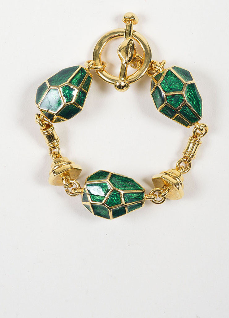 Gold Toned and Green Enamel Oscar de la Renta Geometric Link Bracelet Frontview