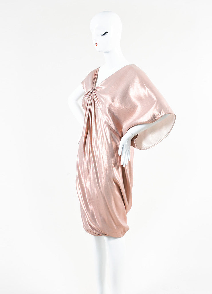 Pink Metallic Ports 1961 Silk Ruched Asymmetrical Sleeve Dress Front