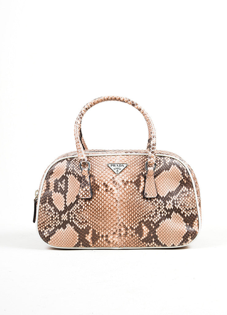 Pink and Black Prada Python Leather Top Handle Mini Bowler Satchel Bag Frontview