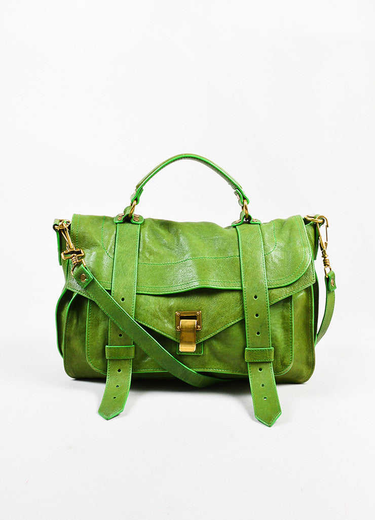 "Proenza Schouler Kelly Green Leather Medium Crossbody ""PS1"" Messenger Bag Frontview"