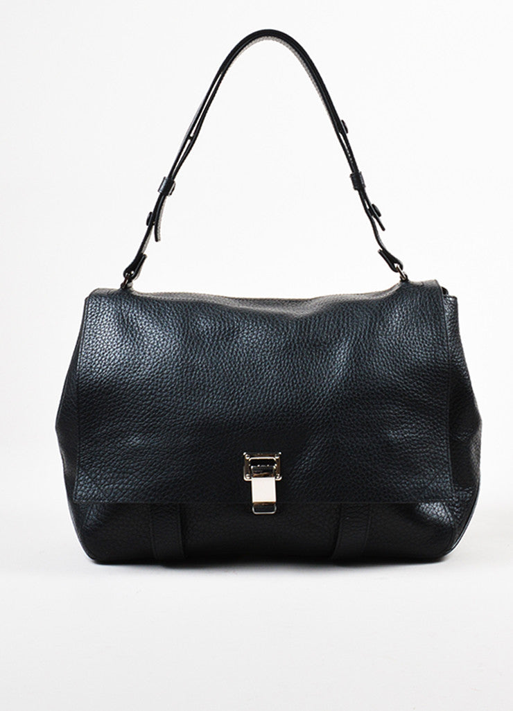 "Proenza Schouler Black Pebbled Leather ""Large Courier"" Flap Bag Frontview"