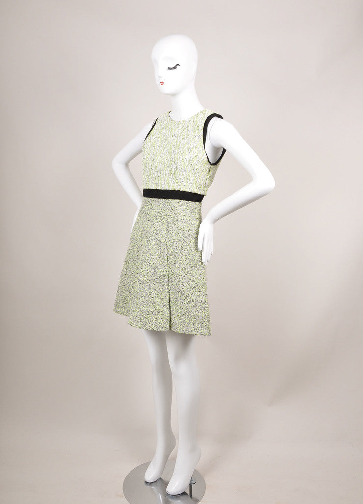 Proenza Schouler New With Tags White and Green Zig Zag Plaster Jacquard Dress Sideview