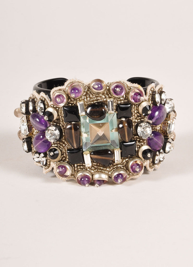 Ranjana Khan New Black and Purple Rhinestone Beaded Cuff Bracelet Frontview