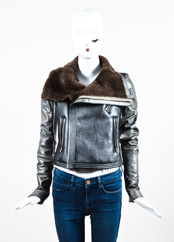 Rick Owens Brown and Grey Metallic Leather Shearling Knit Insert Moto Jacket Frontview 2