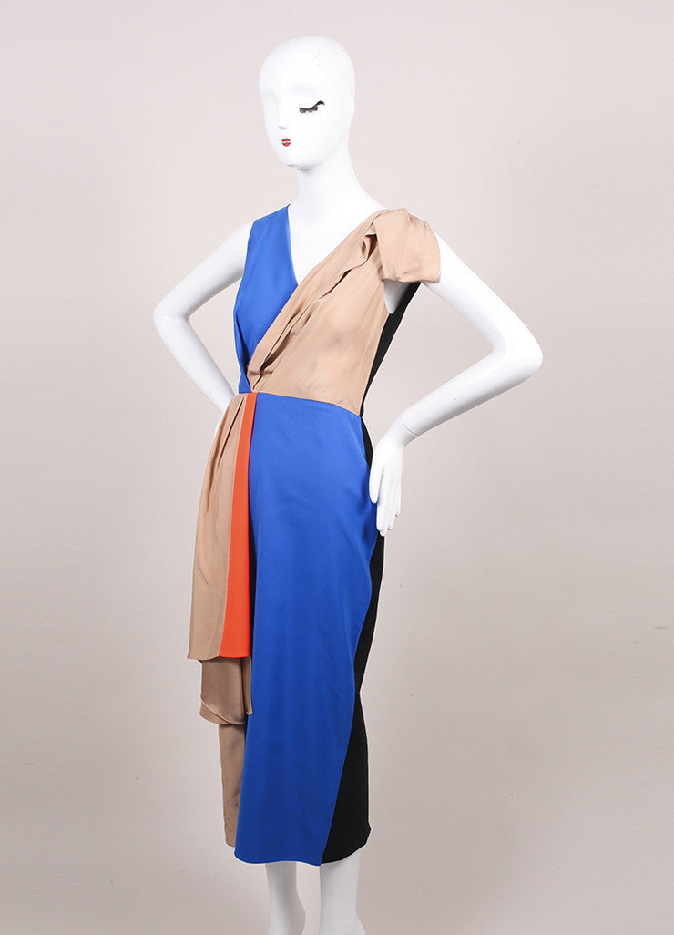 "Roksanda Ilincic New Multicolor Color Block Draped Sleeveless ""Shraya"" Dress Sideview"