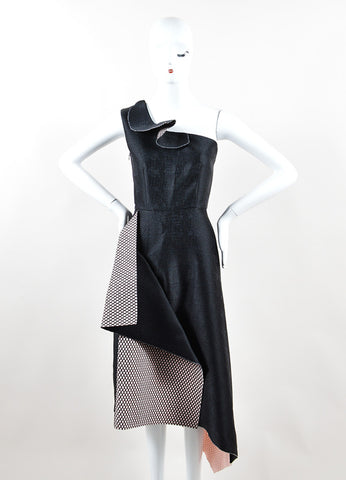 Roksanda Black and Pink Mesh Inset Asymmetric One Shoulder Dress Frontview