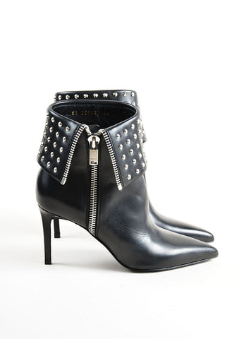 "Saint Laurent Black Leather Studded ""Paris"" Heeled Ankle Boots Sideview"