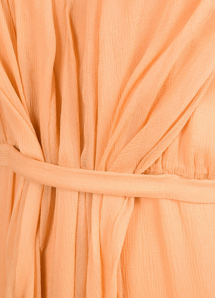 Sari Gueron Orange Silk Draped Racer Back Sleeveless Dress Detail
