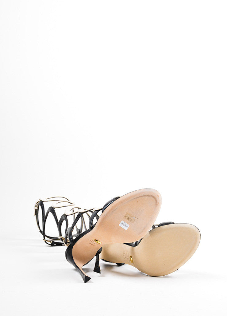 "Cream Black Sergio Rossi ""Arabesque"" Cage Sandals Sole"