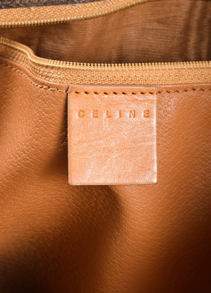 Celine Brown and Tan Coated Canvas and Leather Macadam Printed Messenger Bag Brand