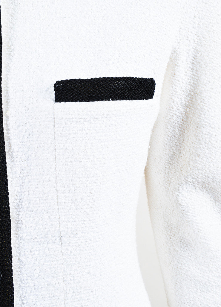 Chanel Black and White Cotton Boucle Woven Trim Jacket Detail