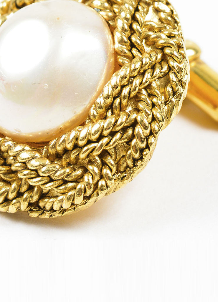 Gold Toned and Faux Pearl Chanel Braided Cufflinks Detail