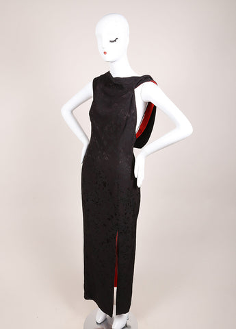 Gianni Versace Black and Red Floral Embroidered Asymmetrical Dress Sideview