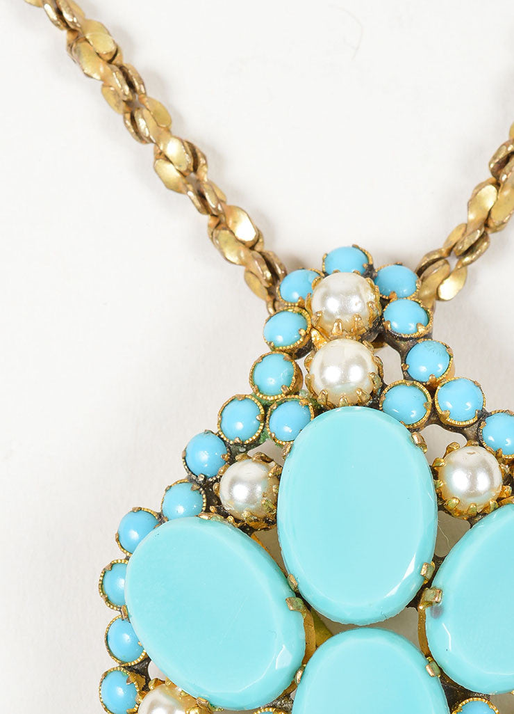 Brass Toned, Turquoise Beaded, and Faux Pearl Miriam Haskell Pendant Necklace Detail 3