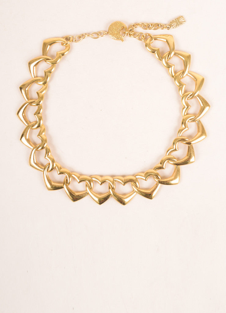 Yves Saint Laurent Gold Toned Link Open Heart Chain Necklace Frontview