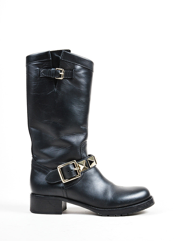 "Black Valentino Leather Stud Buckled Strap ""Rockstud"" Biker Boots Sideview"