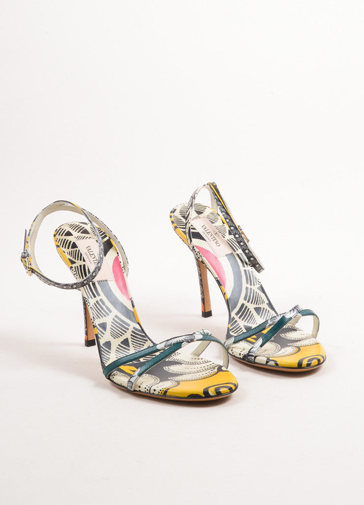 Valentino Multicolor Leather Floral Thin Strap Sandals Frontview