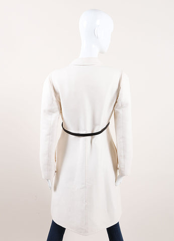 Valentino New With Tags Cream Wool and Silk Bow Snap Belted Overcoat Backview
