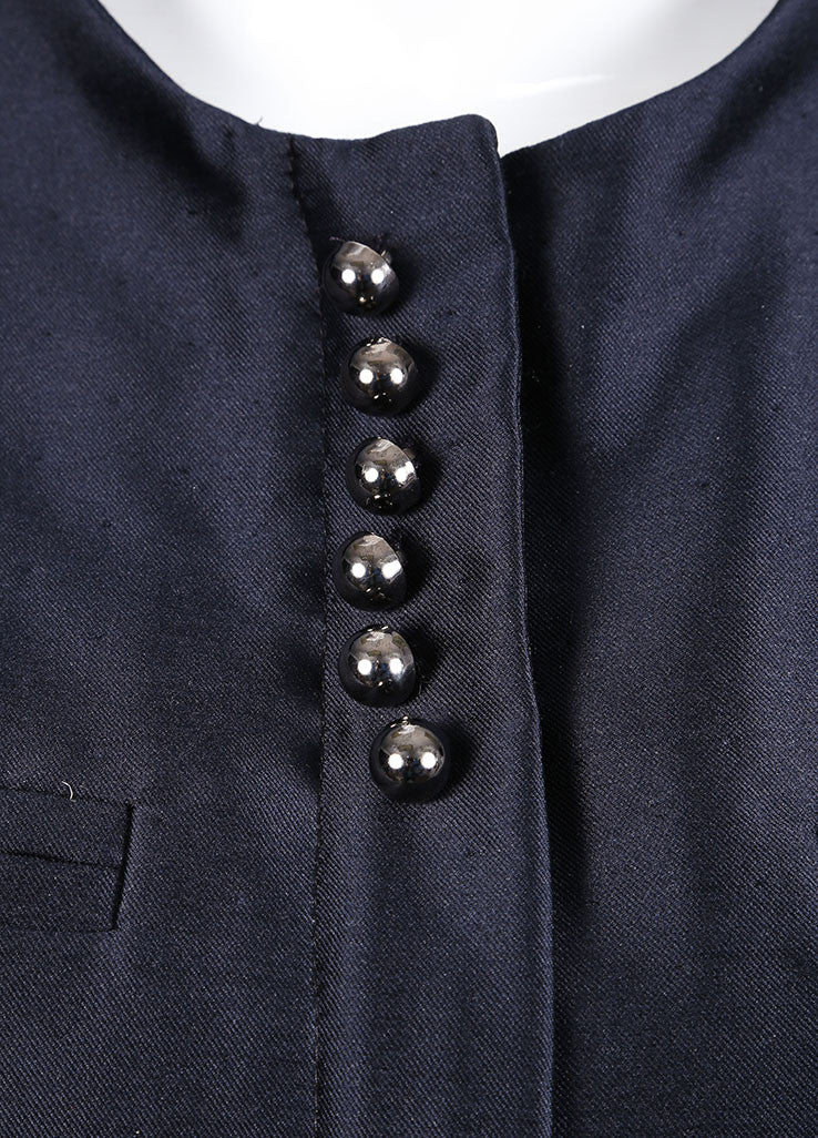 Valentino Navy Dot Stitch Wool and Silk Blend Cap Sleeve Paneled Zip Jacket Detail