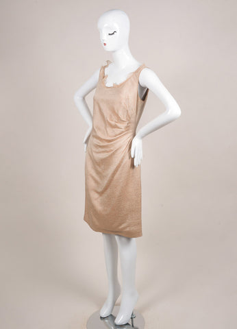 Valentino Nude Wool and Silk Woven Ruffle Gathered Sleeveless Sheath Dress Sideview