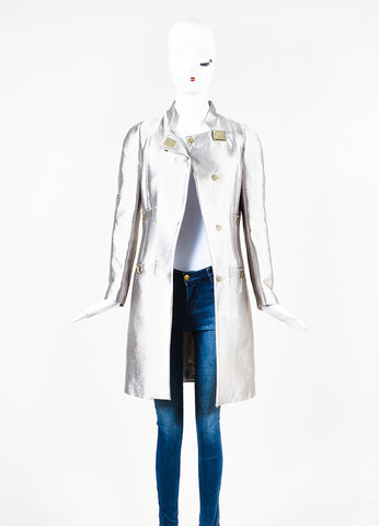 Versace Collection Silver Metallic Medusa Buckle Hardware Coat Frontview