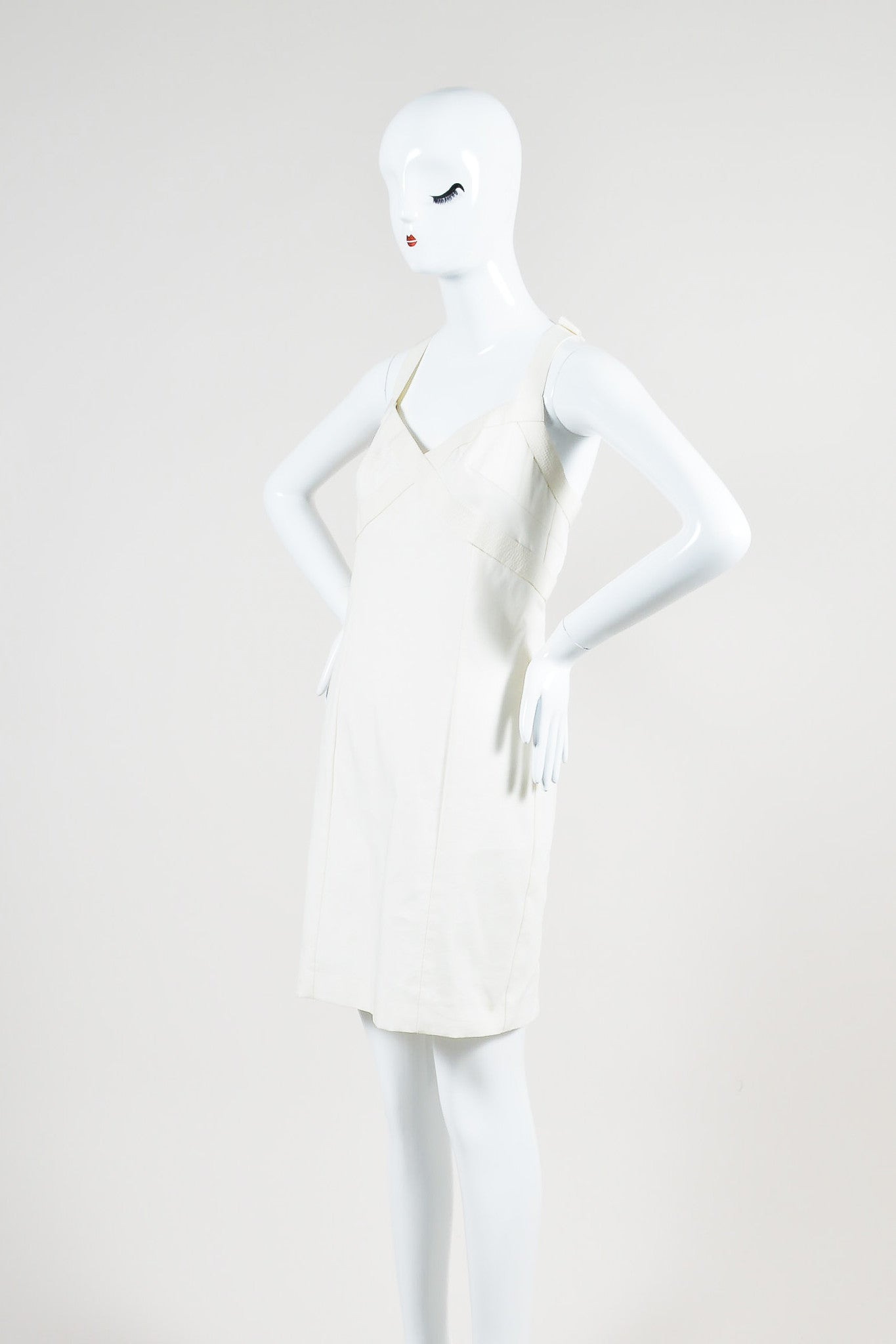 Cream Versace Pleat T-Strap V-Neck Top Stitch Sleeveless Dress Sideview